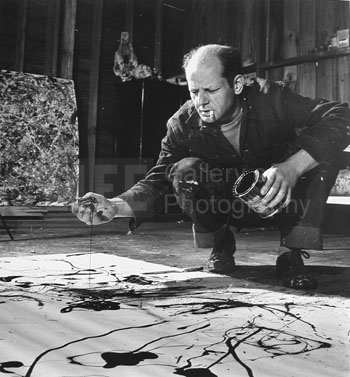 Martha Holmes, Jackson Pollock painting in his studio